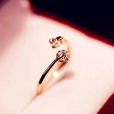 Discount Rhinestone Open Ring - ONE SIZE GOLDEN Mobile