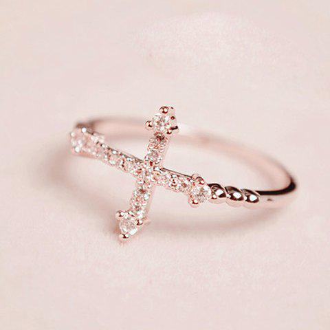 Outfits Cute Rhinestone Cross Ring For Women - ONE SIZE AS THE PICTURE Mobile