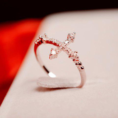Discount Cute Rhinestone Cross Ring For Women AS THE PICTURE ONE SIZE