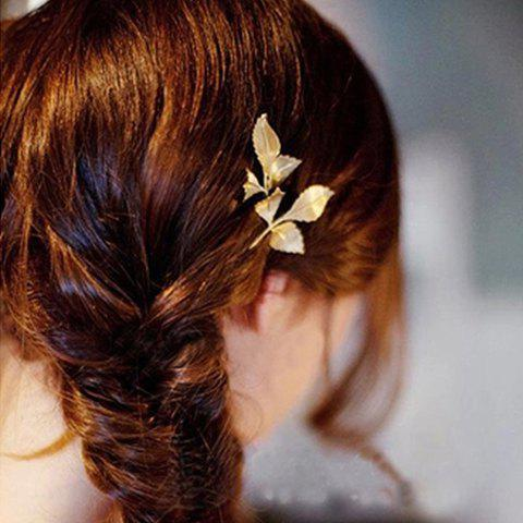 Shop Chic Leaf Shape Solid Color Hairpin For Women CHAMPAGNE