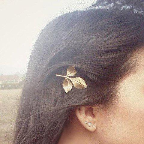 Hot Chic Leaf Shape Solid Color Hairpin For Women - CHAMPAGNE  Mobile