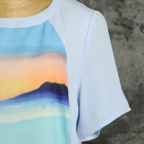 Unique Casual Style Chiffon Printed Round Neck Short Sleeves Irregular Hem Women's Blouse - L LIGHT BLUE Mobile
