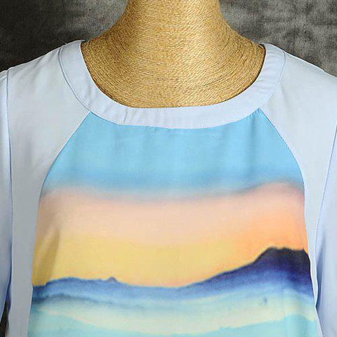 Shop Casual Style Chiffon Printed Round Neck Short Sleeves Irregular Hem Women's Blouse - L LIGHT BLUE Mobile