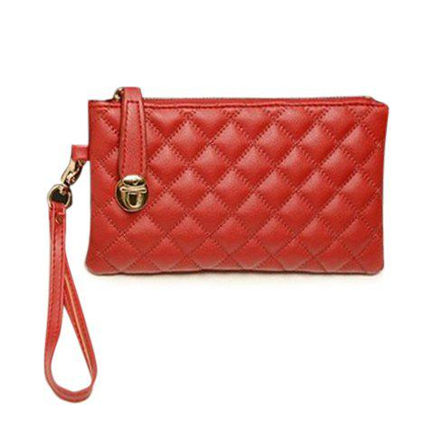 Chic Elegant Checked and Solid Color Design Women's Clutch - RED  Mobile