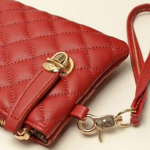 Unique Elegant Checked and Solid Color Design Women's Clutch - RED  Mobile