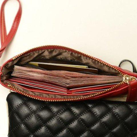 Latest Elegant Checked and Solid Color Design Women's Clutch - RED  Mobile