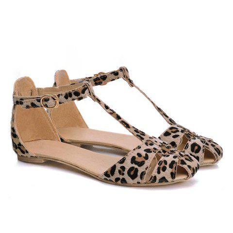 Buy Stylish Leopard Print T-Strap Design Women's Sandals 36