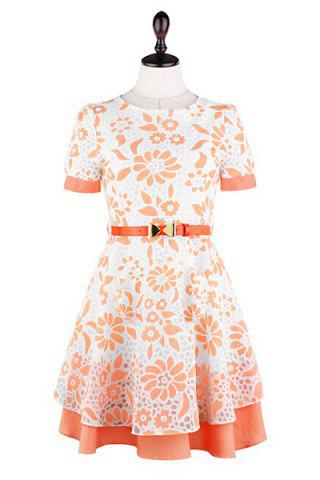 Outfit Stylish Round Collar Floral Print A-Line Short Sleeve Women's Dress