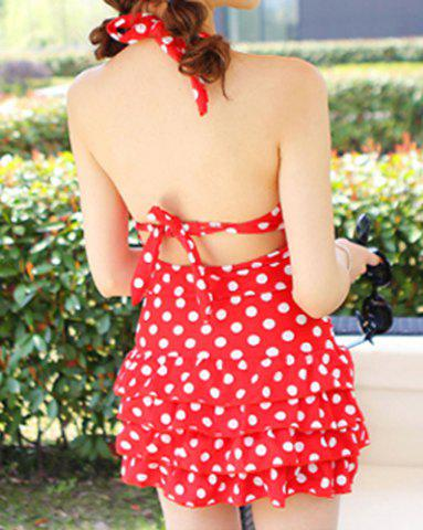 Trendy Halter Polka Dot One Piece Skirted Swimsuit - L RED Mobile
