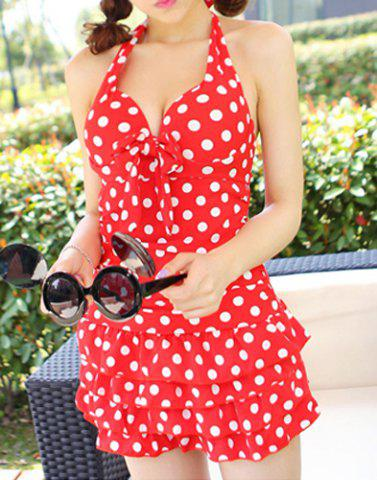 Fancy Halter Polka Dot One Piece Skirted Swimsuit - L RED Mobile