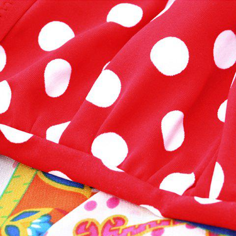 Hot Halter Polka Dot One Piece Skirted Swimsuit - XL RED Mobile