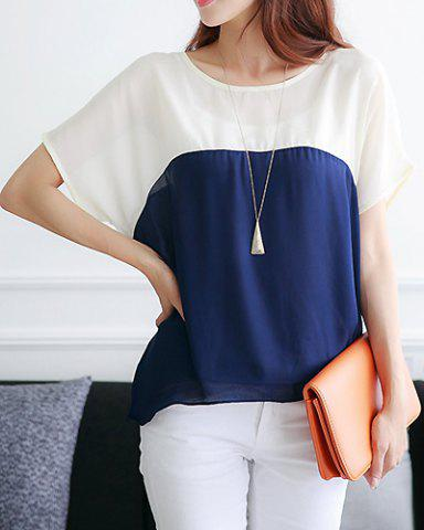 Store Casual Scoop Neck Short Batwing Sleeve Spliced Chiffon Women's Blouse