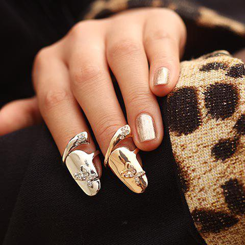 Cheap Characteristic Rhinestone Embellished Butterfly Pattern Fingertip Ring For Women    (ONE PIECE)