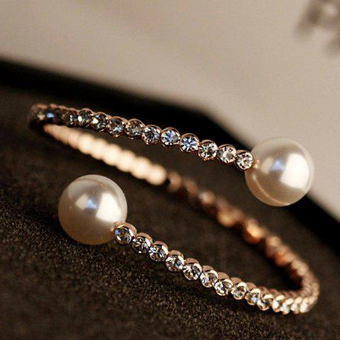 Unique Faux Pearl Rhinestoned Cuff Bracelet AS THE PICTURE