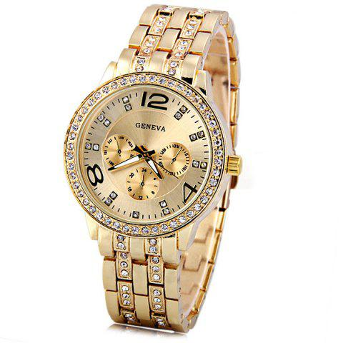 Chic GENEVA Quartz Watch with Diamonds Round Dial and Steel Watch Band for Women GOLDEN
