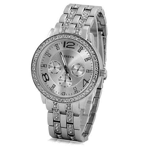 Store GENEVA Quartz Watch with Diamonds Round Dial and Steel Watch Band for Women SILVER