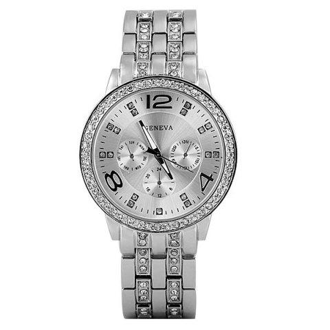 Shop GENEVA Quartz Watch with Diamonds Round Dial and Steel Watch Band for Women - SILVER  Mobile