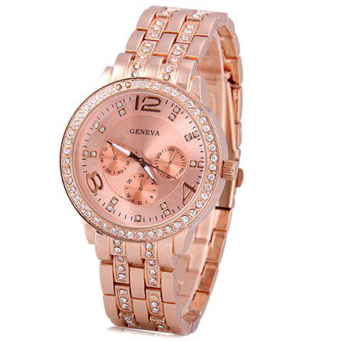 Shop GENEVA Quartz Watch with Diamonds Round Dial and Steel Watch Band for Women ROSE GOLD