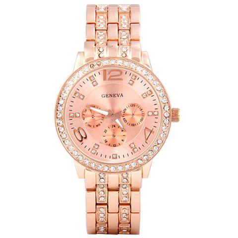 Sale GENEVA Quartz Watch with Diamonds Round Dial and Steel Watch Band for Women - ROSE GOLD  Mobile