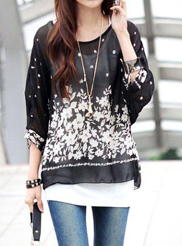 Fashion Bohemian Scoop Neck 3/4 Batwing Sleeve See-Through Chiffon Women's Blouse