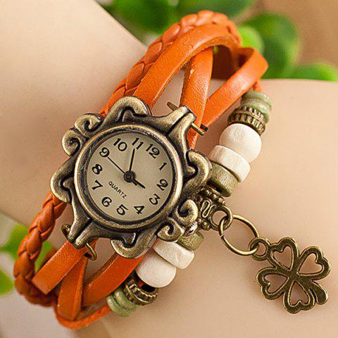 Stylish Quartz Watch with Four-leaf Clover Pendant Round Dial and Knitting Leather Watch Band for Women от Rosegal.com INT