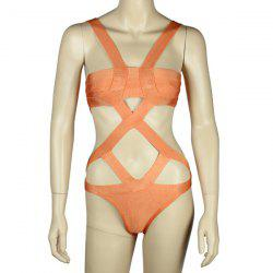 Sexy Solid Color Cut Out One-Piece Women's Bandage Swimwear -