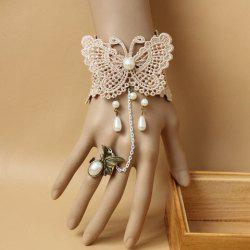 Faux Pearl Pendant Lace Butterfly Pattern Bracelet With a Ring