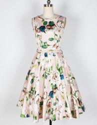 Vintage Floral Print Boat Neck Sleeveless Mid-Calf Women's Pleated Dress With Belt -