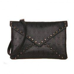 Stylish Black and Rivets Design Women's Clutch -