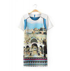 Trendy Style Scoop Collar Short Sleeve Castle Print Splicing Women's Dress -