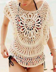 Cute Scoop Neck Batwing Sleeve Openwork Smock For Women - WHITE ONE SIZE