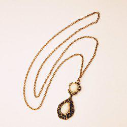 Retro Openwork Water Drop Shape Pendant Sweater Chain For Women -