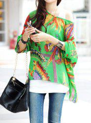 Bohemian Scoop Neck 3/4 Batwing Sleeve Printed Chiffon Women's Blouse -