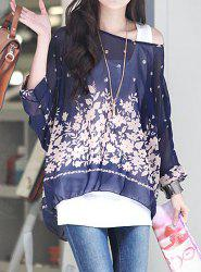 Bohemian Scoop Neck 3/4 Batwing Sleeve See-Through Chiffon Women's Blouse -