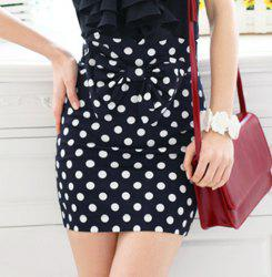 Vintage Dotted Print Bow Embellished High Waist Women's Pencil Skirt -