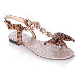 Leopard Print Rhinestone Bow Flat Sandals - BROWN