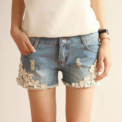Straight Battered Floral Print Denim Women's Jeans Shorts -