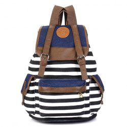Preppy Striped and Splice Design Women's Satchel - BLACK