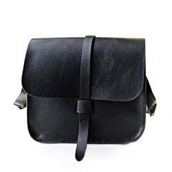 Solid Color and PU Leather Design Retro Women's Crossbody Bag -