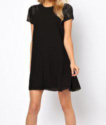 Stylish Round Neck Lace Splicing Hollow Out Short Sleeve Chiffon Dress For Women -