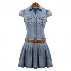 Stylish Turn-Down Collar Bleach Wash Ruffles Short Sleeve with Belt Women's Denim Dress