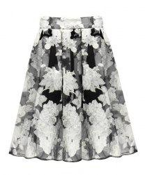 Trendy Style Peony Print Organza Ball Gown Women's Midi Skirt -