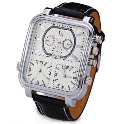 V6 Cool Three Movt Quartz Watch with Analog Indicate Leather Watch Band for Men -