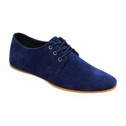 Business Suede and Solid Color Design Men's Formal Shoes - BLUE 43
