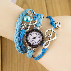 Stylish Quartz Watch with Bead Pendant Round Dial and Knitting Leather Watch Band for Women
