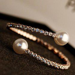 Faux Pearl Rhinestoned Cuff Bracelet - AS THE PICTURE