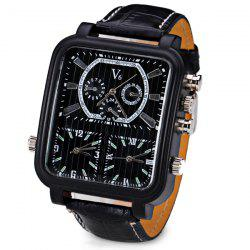 V6 Cool Three Movt Quartz Watch with Analog Indicate Leather Watch Band for Men