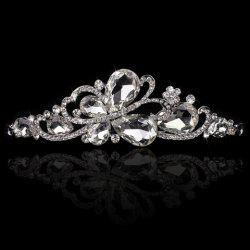 Chic Rhinestone Butterfly Crown Tiara For Bride -