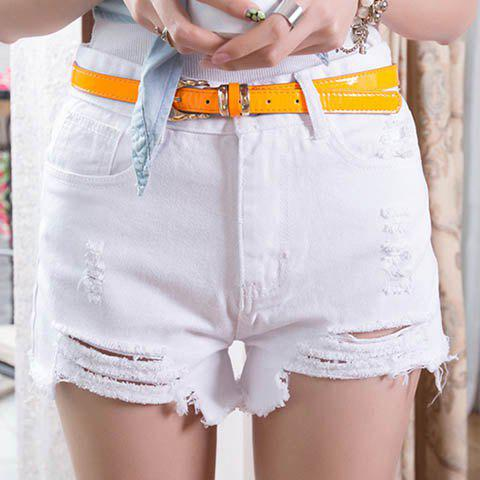 Sale Women's Punk Rock Street Hole Water Wash Retro High Waist Shorts Jeans