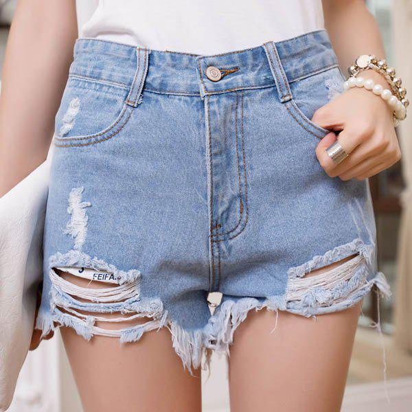 Store Women's Punk Rock Street Hole Water Wash Retro High Waist Shorts Jeans
